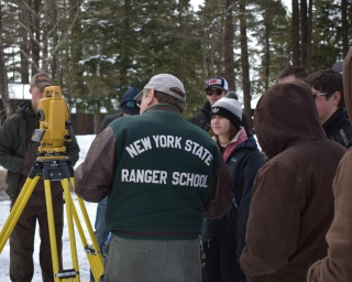 Forestry Camp - students learning about surveying