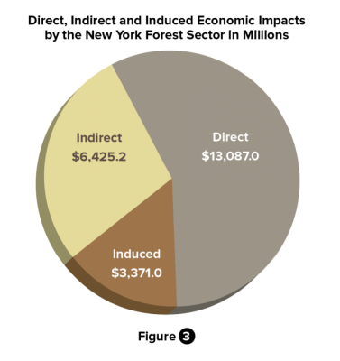 Figure 3: Direct, Indirect and Induced Economic Impacts by the New York Forest Sector in Millions
